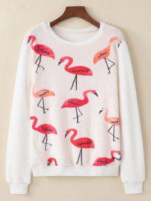 Flamingo Impreso Suave Suave - Blanco L