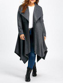 زائد الحجم منديل معطف الصوف الطويل - رمادي Xl