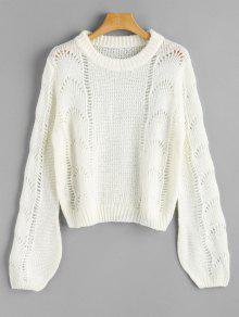 Linterna Manga Recortada Suéter Jersey - Blanco