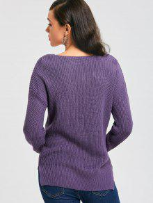 Ribbed Deep V Neck Sweater PURPLE: Sweaters ONE SIZE | ZAFUL