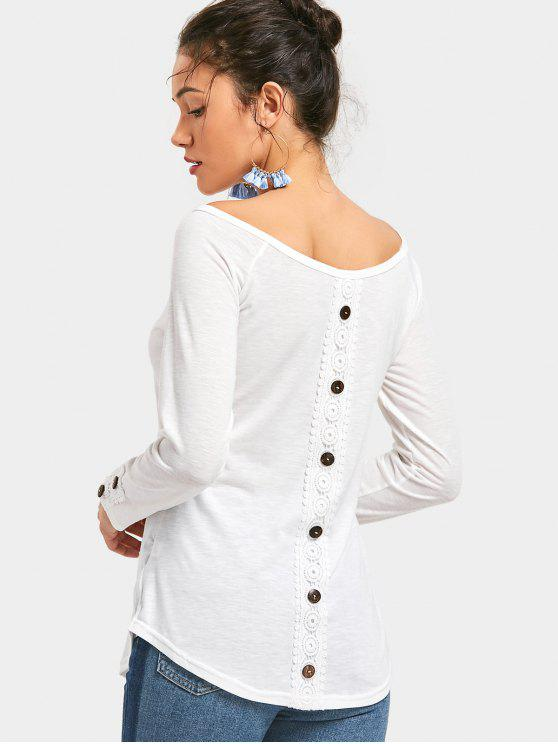 latest Button Embellished Long Sleeve Tee - WHITE S