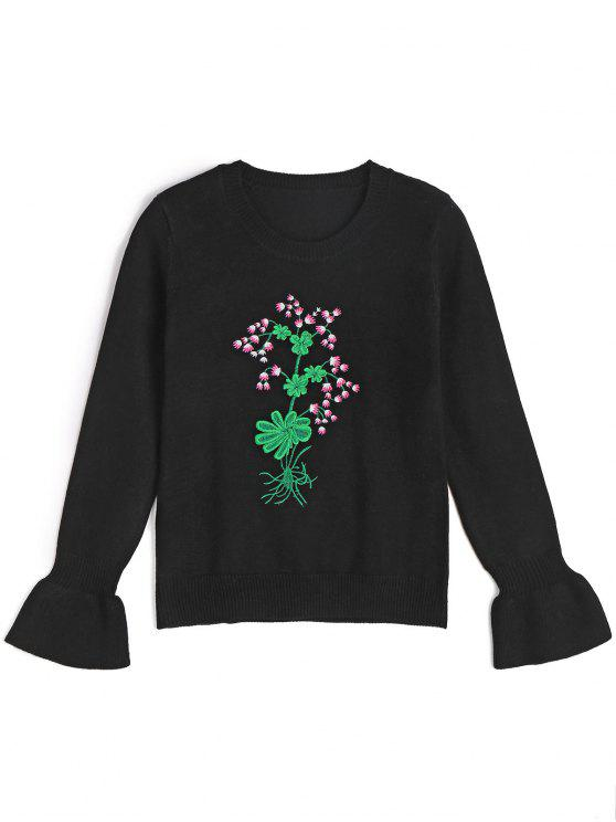 women's Ruffled Sleeve Embroidered Pullover Sweater - BLACK S
