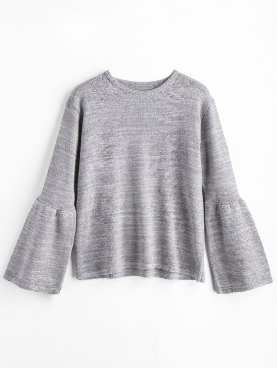 best Flare Sleeve Cuff Sweater - GRAY ONE SIZE