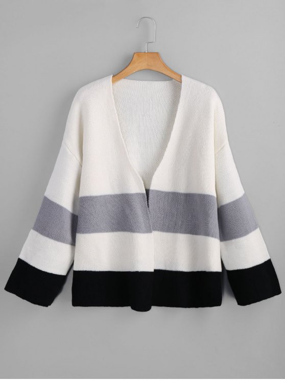 c5eaf315a9 2019 Color Block Open Front Cardigan In WHITE ONE SIZE