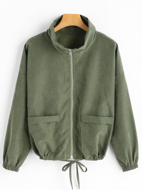 fashion Drop Shoulder Zippered Jacket with Pockets - ARMY GREEN ONE SIZE