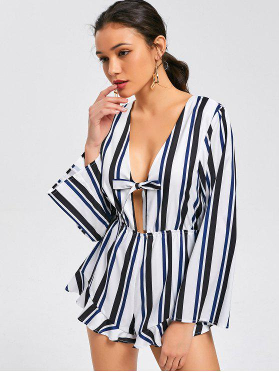 chic Bow Tied Long Sleeve Stripes Romper - STRIPE S