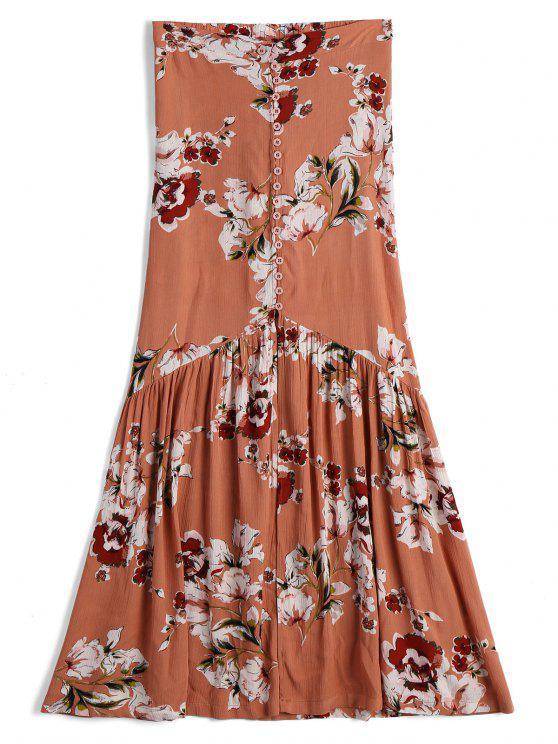 best Front Slit Floral Button Up A Line Skirt - FLORAL M