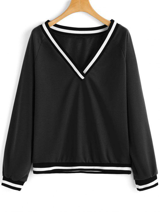 outfit V Neck Stripes Panel Sweatshirt - BLACK S