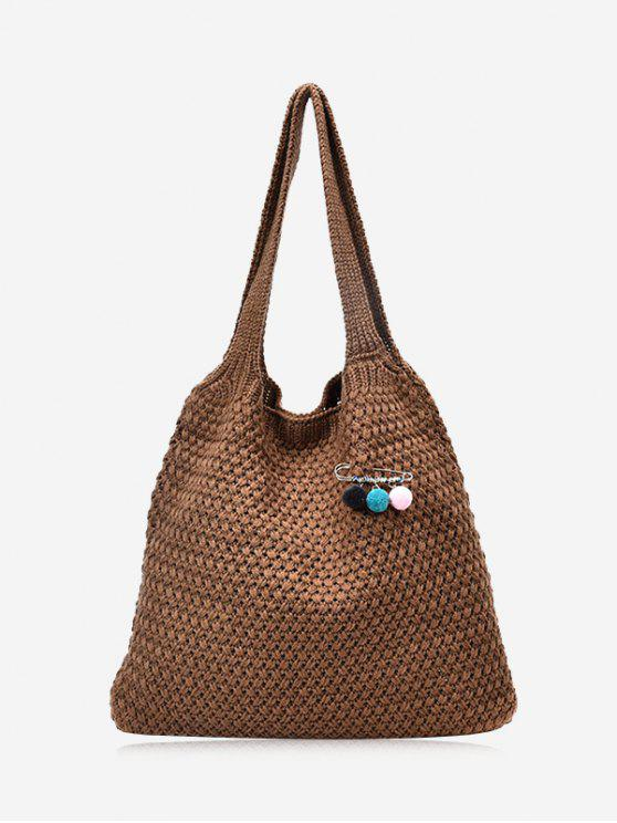 Pom Pom Braid Shoulder Bag - Brun