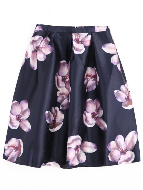 trendy Floral Midi Skirt - CADETBLUE M