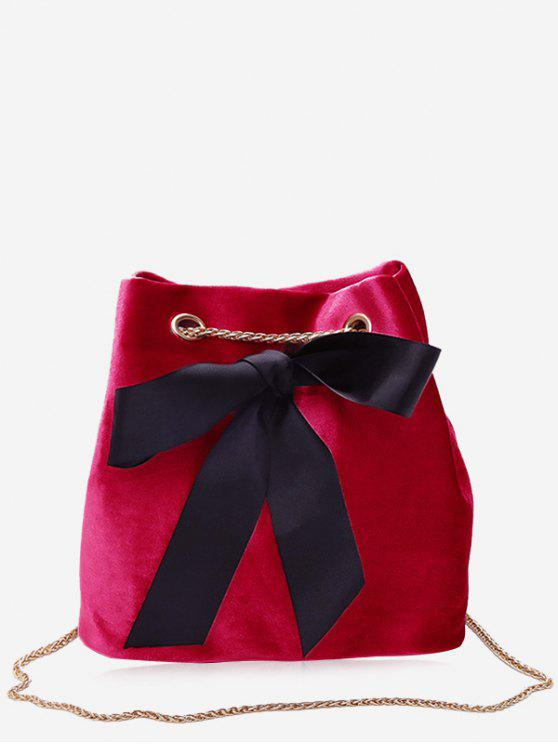 fancy Bowknot Bucket Chain Crossbody Bag - RED