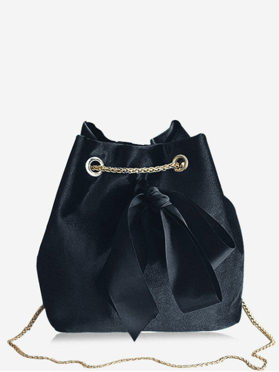 affordable Bowknot Bucket Chain Crossbody Bag - BLACK