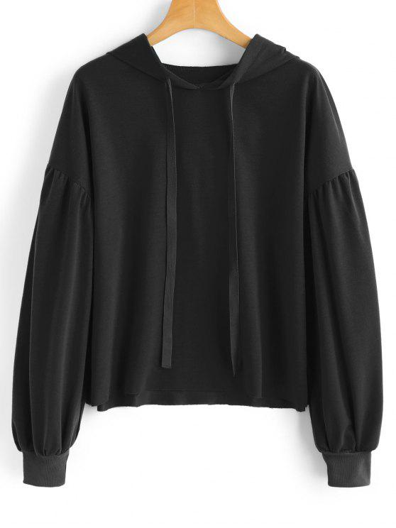 String Casual Drop Shoulder Hoodie - Preto S