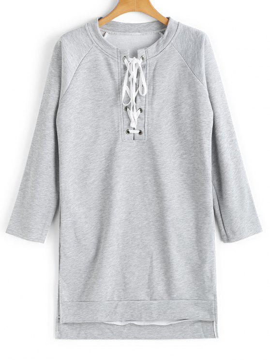 fancy Longline High Low Lace Up Sweatshirt - LIGHT GRAY M