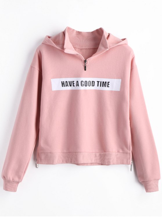 new Fleece Side Zippers Graphic Hoodie - PINK S