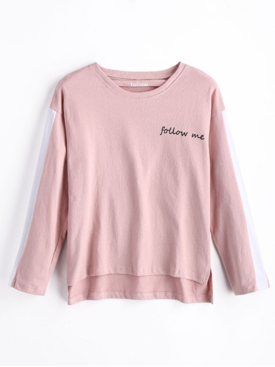 affordable Follow Me Graphic Sweatshirt - PINK S