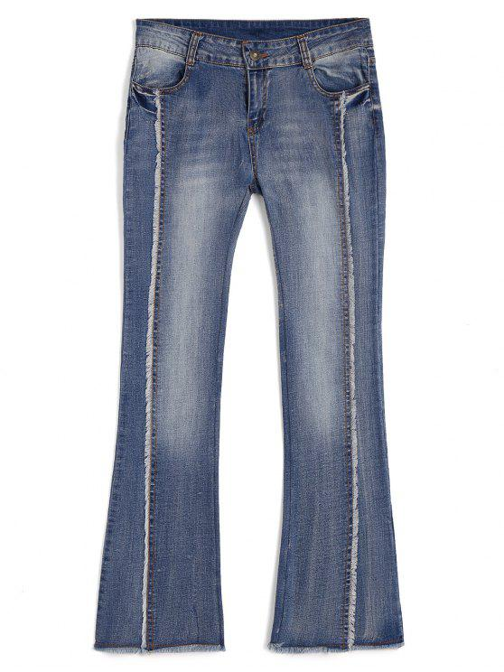 women's Bleach Wash Ninth Frayed Boot Cut Jeans - DENIM BLUE M