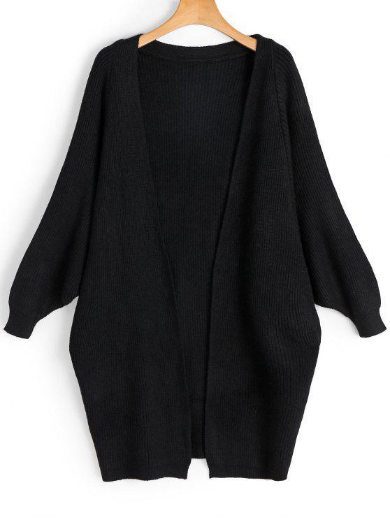 fancy Batwing Open Front Cardigan - BLACK ONE SIZE