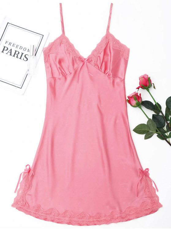 ladies Laced Satin Slip Babydoll - PINK M