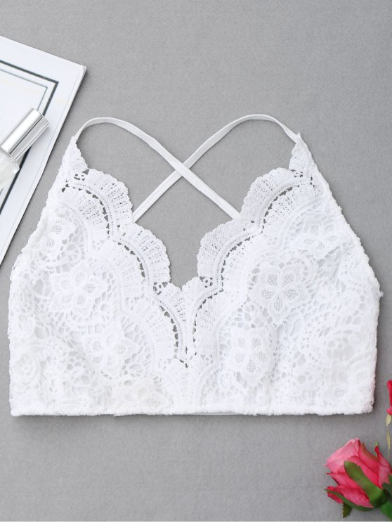 online Scalloped Criss-cross Lace Bralette - WHITE S