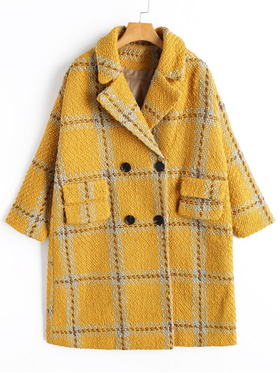 trendy Checked Peacoat - YELLOW M