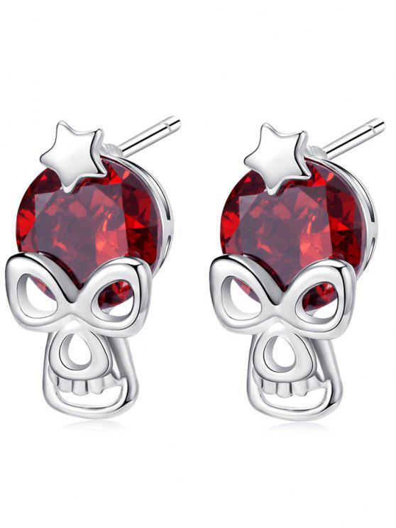 Orecchini della vite prigioniera del Rhinestone del cranio della stella di Halloween - Borgogna