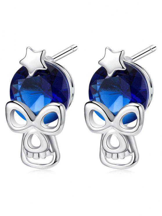 Halloween Star Skull Rhinestone Stud Earrings - Azul