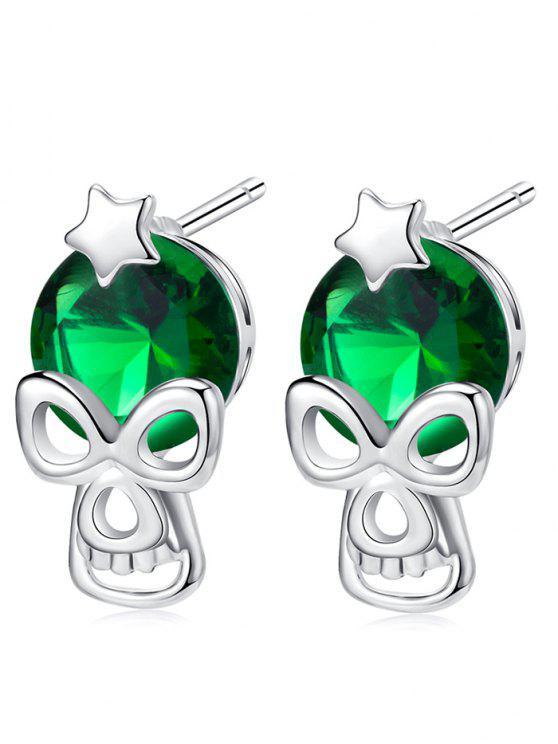 هالوين ستار الجمجمة حجر الراين وأقراط - أخضر