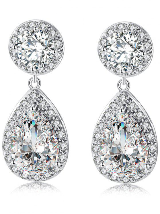 Retro Rhinestone Teardrop Drop Earrings - SILVER