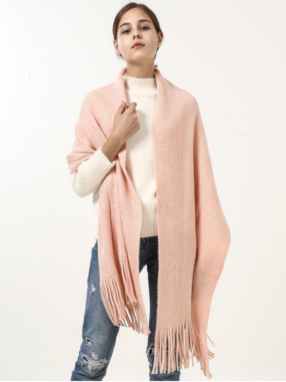 Écharpe Longue Couverture Souple avec Franges Style Rétro - ROSE PÂLE