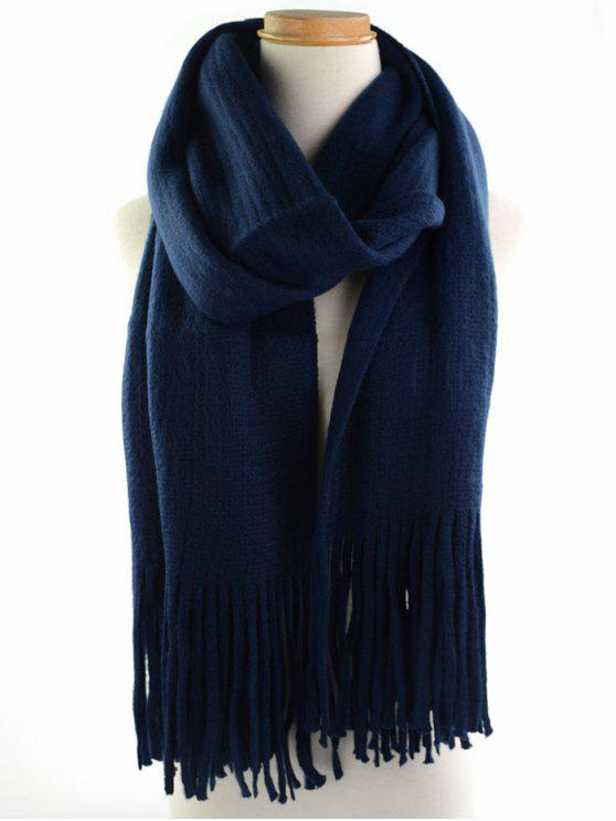 sale Retro Soft Fringed Blanket Long Shawl Scarf - PURPLISH BLUE