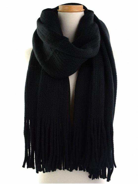 buy Retro Soft Fringed Blanket Long Shawl Scarf - BLACK