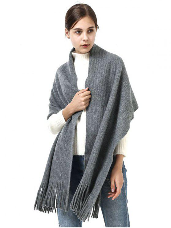 womens Retro Soft Fringed Blanket Long Shawl Scarf - LIGHT GRAY