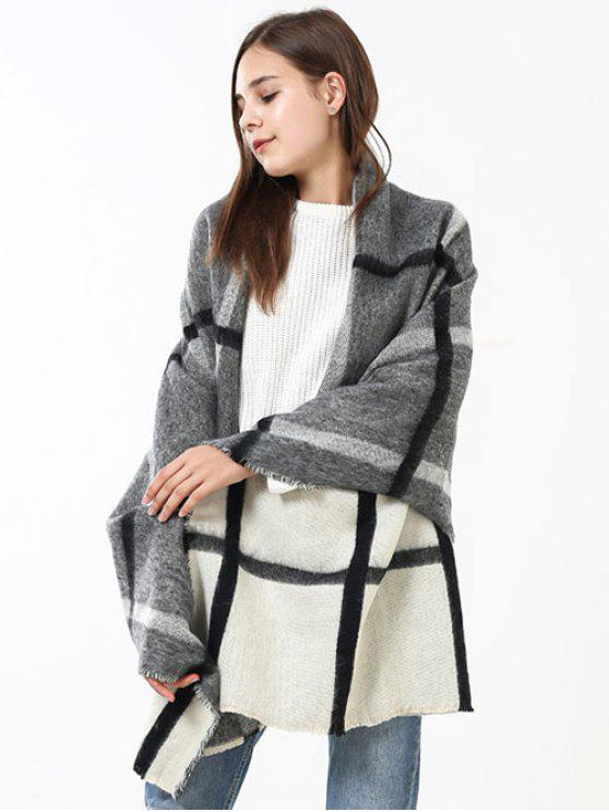 lady Soft Checked Pattern Shawl Scarf - OFF WHITE + GREY