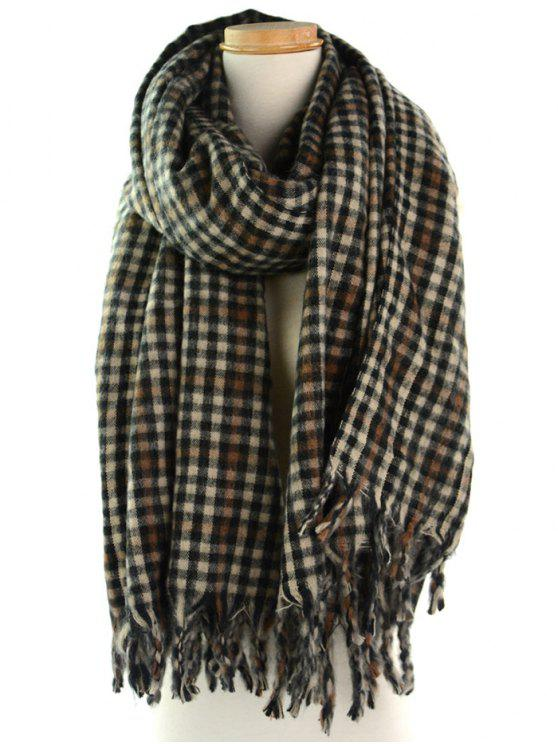 Soft Small Check Pattern Fringe Shawl Scarf - Multi