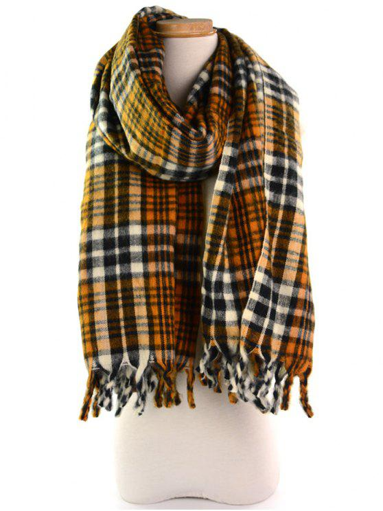 hot Soft Tartan Pattern Fringe Shawl Scarf - EARTHY
