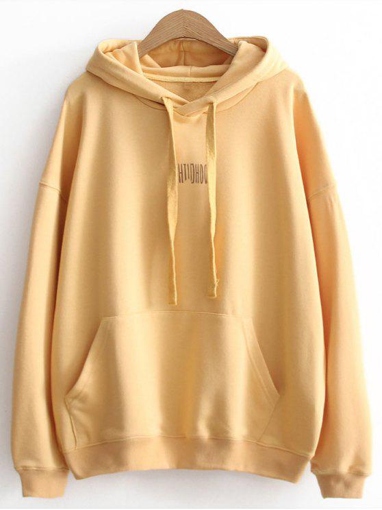 Oversized Cartoon Letter Hoodie - Yellow