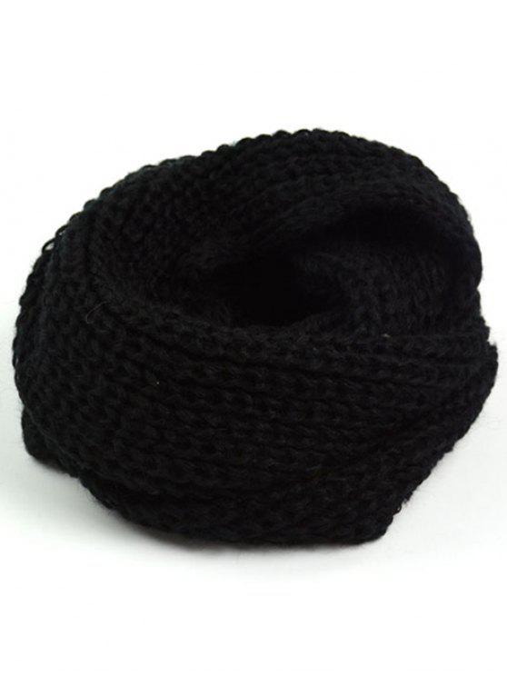 Espesar la bufanda larga gruesa del punto - Negro