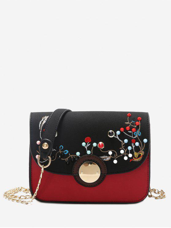 womens Rivets Embroidery Chain Crossbody Bag - BLACK