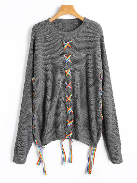 new Crew Neck Colorful Lace Up Sweater - GRAY ONE SIZE