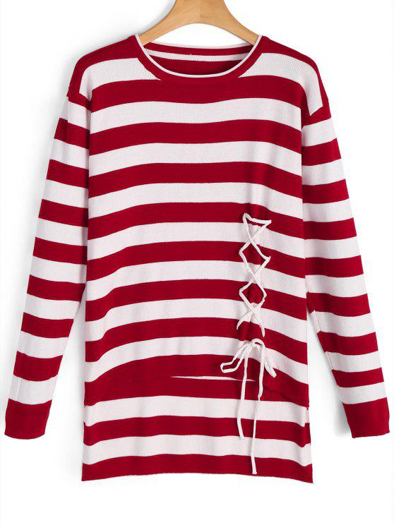 Lace Up Stripes High Low Sweater RED: Sweaters ONE SIZE | ZAFUL