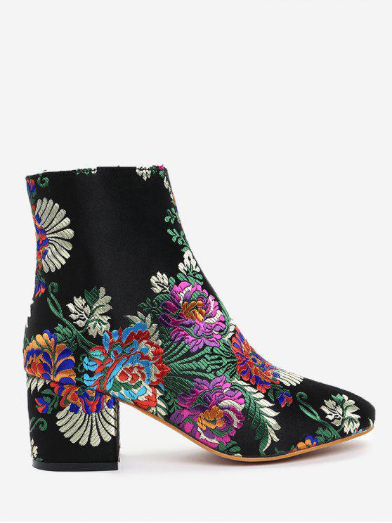 Botas de flores de bordado de tobillo - Negro 37