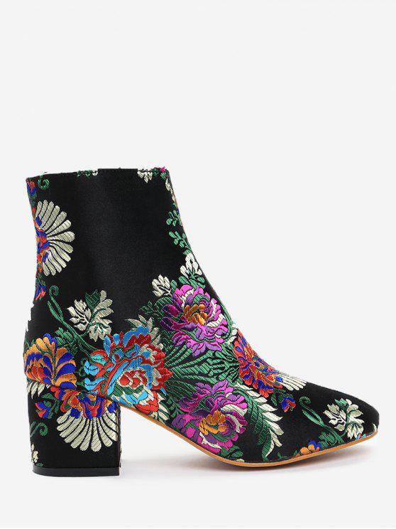 outfit Ankle Embroidery Flower Boots - BLACK 40