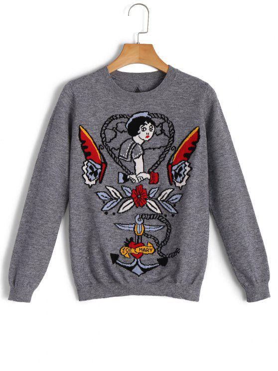 Pullover Cartoon Star Jacquard Sweater - gris L