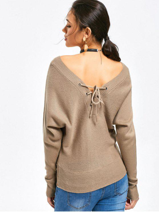 Convertible Lace Up V Neck Sweater KHAKI  Sweaters S  08a9ff1c8