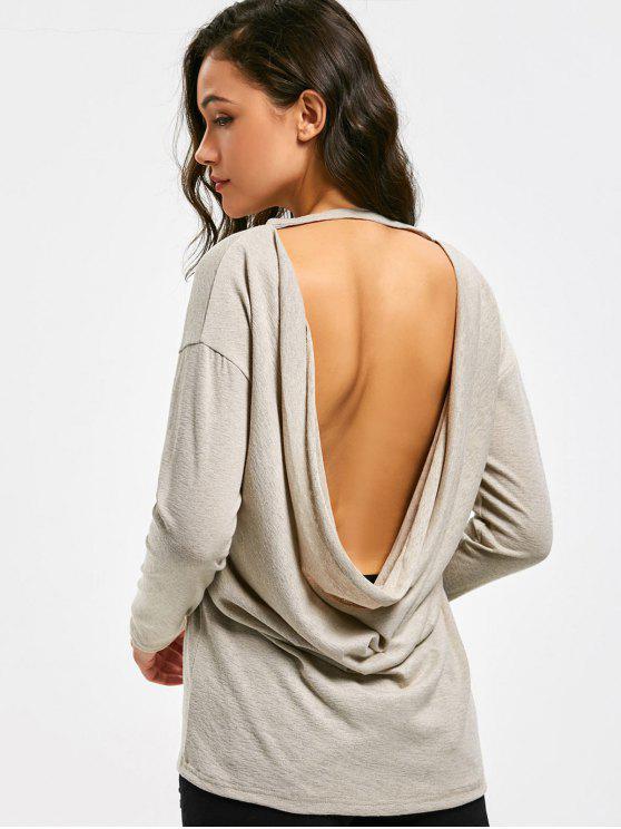 hot Drop Shoulder Open Back Knitted Top - LIGHT KHAKI S