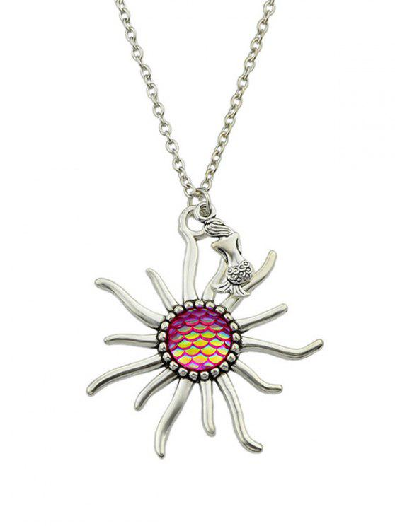 Mermaid Sunflower Fish Scales Necklace - Rosa Quente