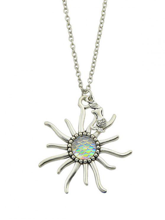 Mermaid Sunflower Fish Scales Necklace - Bege