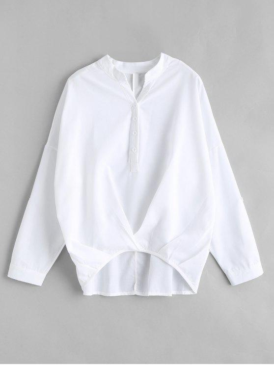 b7bf14daaca98c 24% OFF] 2019 High Low Long Sleeve Top In WHITE | ZAFUL