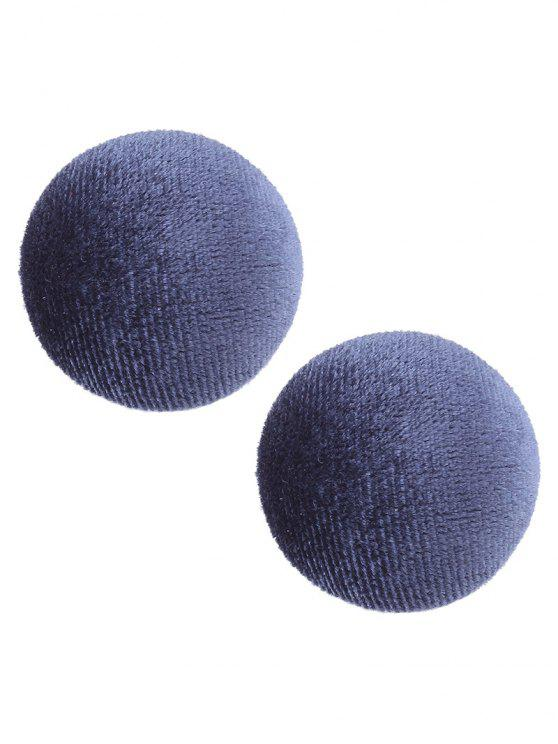 Fancy Velvet Round Vintage Stud Earrings Navy Blue